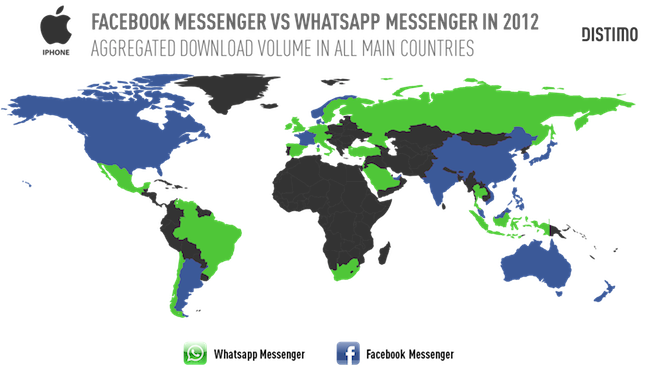Популярность Facebook Messenger и WhatsApp
