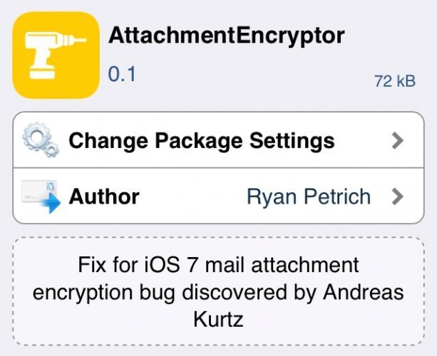 Твик Attachment Encryptor